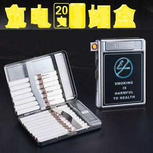 Großhandel Verkauf von Edelstahl Zigaretten Tabakhalter Kasten Raffiniert manuelles Metall 20 stücke Zigarettenetui mit wiederaufladbarer USB-Feuerzeug
