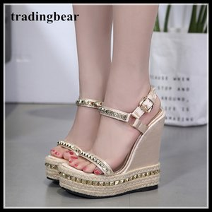 15 см мода заклепки соломы тканые платформы клинья сандалии бежевый супер высокие каблуки дизайнер обувь 2018 размер 35 до 40