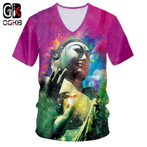 OGKB Camisetas Masculinas Novo V de Manga Curta Multicolor 3D Camiseta Impressão Streetwear Buddha Tamanho Grande Garment Masculino Primavera T-shirt