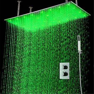"2Jets은 벽에 설치된 숨겨진 온도 조절 샤워 세트 Hand Shower Head가있는 20 ""* 40""Bathroom Rainfall LED 샤워 헤드"