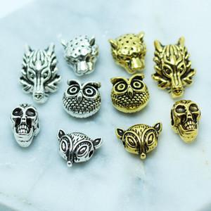Metal Charm Beads Tibetan leopard / Lion / wolf / owl Heads Bead For Jewelry Finding Making DIY Handmade Bracelet Accesory