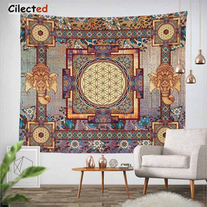 Cilected India Mandala Tapestry Gobelin Hanging Wall Floral Tapestry Tessuto poliestere / cotone Hippie Boho copriletto copriletti