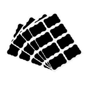 49 x Fancy Black Board Kitchen Jam Jar Label Labels Stickers. 5cm x 3.5cm Chalkboard
