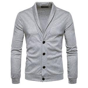 الرجال Sweatercoat تريكو البلوز البلوزات الكلاسيكية الكبيرة بنين الحياكة طويلة الأكمام الخامس الرقبة شال طوق زر جديد وصول 0605