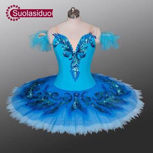 Tutus azul del ballet de la etapa profesional del adulto los trajes de la competencia de funcionamiento de Raymonda danza del ballet de las muchachas Apperal de los niños falda del ballet