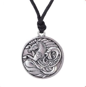 Viking Pendentif Collier Cheval Et Dragon Combinaison Motif Spécial Conception Viking Style Bijoux Salomon Alliage De Zinc Dropshipping