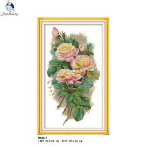 vente en gros La Rose 7 Compté Point De Croix Kits DMC DIY 11CT 14CT Point De Croix À La Main Broderie nkf Needlework