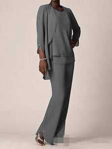 .Grey Chiffon Formal Pant Suits For Mother Groom Dresses Evening Wear Long Mother of the Bride Dresses With Jackets Plus Size Custom