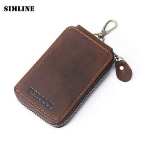 SIMLINE Genuine Leather Key Wallet Men Vintage Crazy Horse Zipper Car Key Cover Holder Bag Case Housekeeper Keys Organizer Pouch