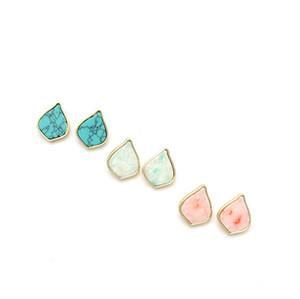 패션 골드 색상 자연 드롭 모양 기하학 청록색 돌 매력 댕글 귀걸이 여성 브랜드 쥬얼리