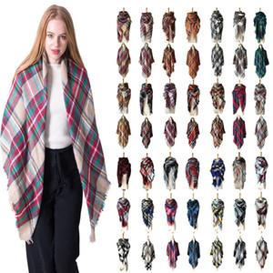Женщины плед шарфы сетка кисточкой обернуть негабаритных проверить Шаль тартан кашемировый шарф зима шейный платок решетки одеяла шарфы обертывания T6C084