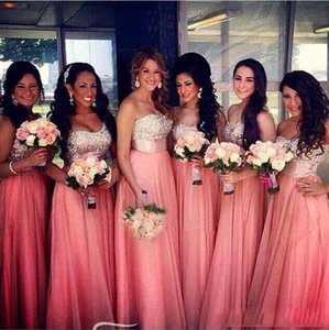 Longo Chiffon Bridesmaid Dresses baratos Custom Strapless com lantejoulas de cristal A Lind comprimento do assoalho Maid of Honor Vestidos