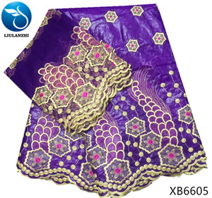LIULANZHI african bazin riche fabric purple brode getzner 2018 riche getzner new arrival 5 yards cotton fabric+2yards lace XB66