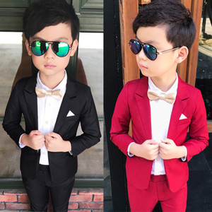 Wedding Boy Dress blazer pant Child Suit Color red and black, Gentle slim Baby Boy costume School Performance show Kid Suit