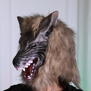 Adultos Unisex Lobo Máscaras Simulação Luvas de Halloween Chapelaria Adereços de Festa Prank Horror Cosplay Costumes De Borracha Assustado