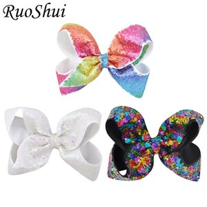 3 unids Boutique Pretty Hair Bows Rainbow Clip de pelo con lentejuelas horquillas niñas niños accesorios más nuevo Festival regalo de cumpleaños