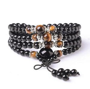 Obsidian multi-circle multi-layer 108 буддийский браслет из бисера оптом мужские и женские браслеты из хрусталя