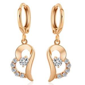 Lujo 18K plateó el corazón de la vendimia pendientes para las mujeres CZ de la manera cristalina larga pendiente cuelgan joyas caída boucle d'oreille