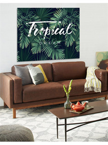 النباتات الخضراء اليوغا حصيرة الجدار شنقا منشفة الشاطئ الإبداعية الموز ورقة الطباعة نسيج نوم الديكور 25ml3 c r