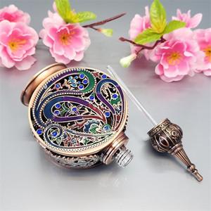 12 ml de alta calidad de plata de la vendimia botellas de perfume vacías, aleación de bronce árabe botella de perfumes dubai, parfum antiguo botella de metal