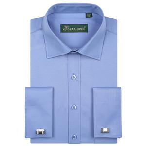 الرجال الفاخرة الفرنسية الأصفاد اللباس قمصان مع جيب الثدي طويلة الأكمام الجوخ العادية سهرة قميص تناسب (أزرار أكمام) Y1892101