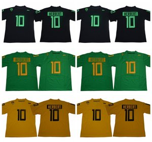 2018 2019 NCAA 10 Justin Herbert Jersey Man Oregon Ducks Collège Football Jerseys Uniforme Home Vert Noir Jaune Couleur respirante