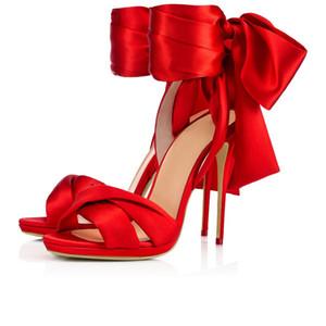 2018 yeni moda ayakkabılar kadın sandalet peep toes kırmızı saten papyon stiletto yüksek topuklu sandalet feminino melissa sandalia düğün ayakkab ...