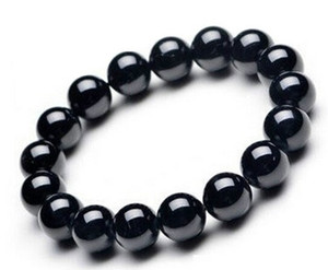 I braccialetti neri naturali dell'ossidiana del braccialetto di vendita calda braccialetti neri della pietra di cristallo della pietra della natura per i monili di modo delle donne degli uomini