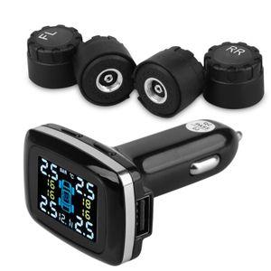 타이어 압력 모니터링 시스템, 4 개의 외부 센서가있는 무선 TPMS, 타이어 압력이있는 담배 라이터 플러그 LCD 디스플레이