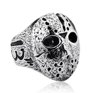 Black Friday Hockey Jason Maske Schädel Ringe Herren Edelstahl Schmuck für Herren Silber Halloween Jason Maske Ring Drop Shipping