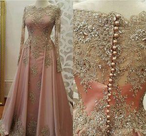 2019 Blus abiti da sera rosa per le donne indossano gioiello collo maniche lunghe oro appliques in pizzo in rilievo di cristallo sexy abiti da ballo party dress formale