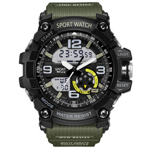 2019 Mode G Artmens Sportuhren mit Gummibügel LED Dual Display Wasserdicht Analog-Quarz-Armband-Armbanduhr-Uhr Shock