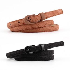 Nuevo Diseñador Coreano Narrow Negro Blanco Azul Faux Pu Leather Belt Ladies Thin Cinturones de cintura para Mujeres Jeans Vestidos