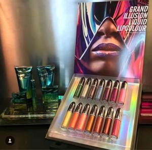 Chegam novas maquiagem grand ilusão líquido lipcolour top quality 14 cores lipgloss (14 pçs / set) caixa de presente lipgloss Frete Grátis