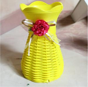 5 unids blanco flor de mimbre cesta floreros jarrones de almacenamiento para el banquete de boda hogares jardín decoración de oficinas