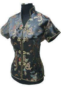 Shanghai Story nouvelle vente de haute qualité vêtements traditionnels chinois cheongsam haut femme dragon imprimer chemisiers chinois cheongsam top 2 couleur