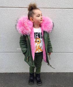 2018 muchachos del invierno chaquetas chicas desmontable de piel falsa Liner niños Abrigos rosa bebé de los niños del invierno Outwear para niñas