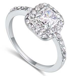 High Quality White Rhinestone Engagement Rings For Women Austrian Crystal Gift Bride Wedding Jewelry 21891