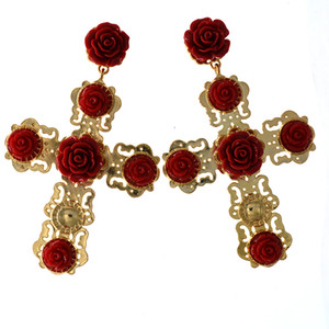 Neue Ankunft Mode Gold Kreuz Ohrringe mit Rote Blume Ohrringe Gold Große Anhänger Ohrringe Barock Kreuz Schmuck Zubehör