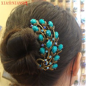 Resina de la vendimia Crystal Rhinestone peacock peines de pelo clips de pelo de bronce antiguo horquillas tocado exquisito pelo joyería mujeres S926
