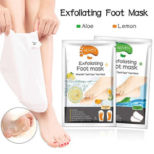 Lemon Aloe Foot Spa Tratamento Pé Máscara Meias Peel Off Dead pele Remoção Hidratante Pé Health Care 2 Pieces = 1 par de 54g