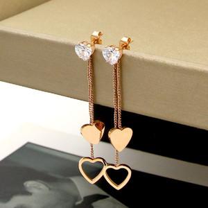 Brillantes pendientes, moda, ritmo cardíaco, flecos, doble corazón, pendientes largos, acero salvaje de titanio salvaje, oro rosa, pendientes en forma de corazón