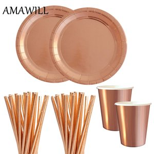 AMAWILL Rose Gold Party Decoration Tazas de papel Platos pajitas para vajilla de la boda Favores de la fiesta de cumpleaños Bachelorette Supplies 7D