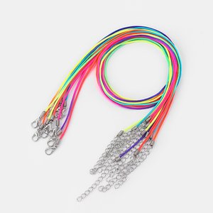 50pcs Rainbow Polychromatic Multicolor 1.5mm Satin Silk Cord Neckalce Lobster Buckle Clasp Rope Chain 18inch+ 2inches Extend