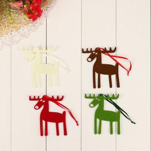 10шт симпатичные Рождественский Лось форма войлок орнамент висит кулон украшение рождественские украшения Навидад Decoraciones Colgantes 2018@ST