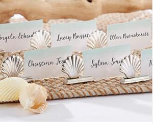 Accesorio de boda plateado Shell Place Card Holder soltero Suministros Bachelorette favorece el envío gratuito