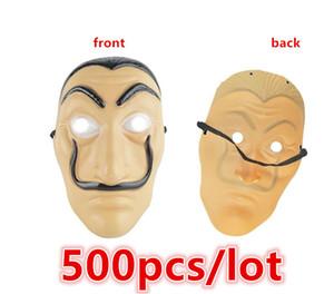 500 pz / lotto Dali Plastic Mask Money Heist La casa di carta La Casa De Papel Carnevale di Halloween Salvador Dali Maschere a pieno facciale