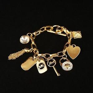 Lega Varietà di pendenti con nappe Bracciale a coppia pendenti in argento o placcato in oro Braccialetti con ciondoli Gioielli con ciondolo per donna regalo CNY99