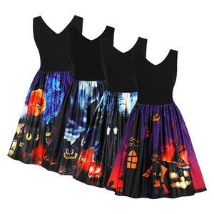 Vestido de luna de murciélago de luna de dibujos animados retro vestido de mujer Vestido de calabaza de vintage impreso de línea retro robe de Rockabilly