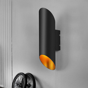 Modern Siyah Alüminyum Boru Duvar Lambaları Yaratıcı Sanat Sütun Duvar Işık Otel Merdiven Koridor Koridor Işık Çalışma Yatak Odası Başucu Aplik